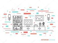 Moderne Designer Wohnzimmer Interieur  Stockvektor ...