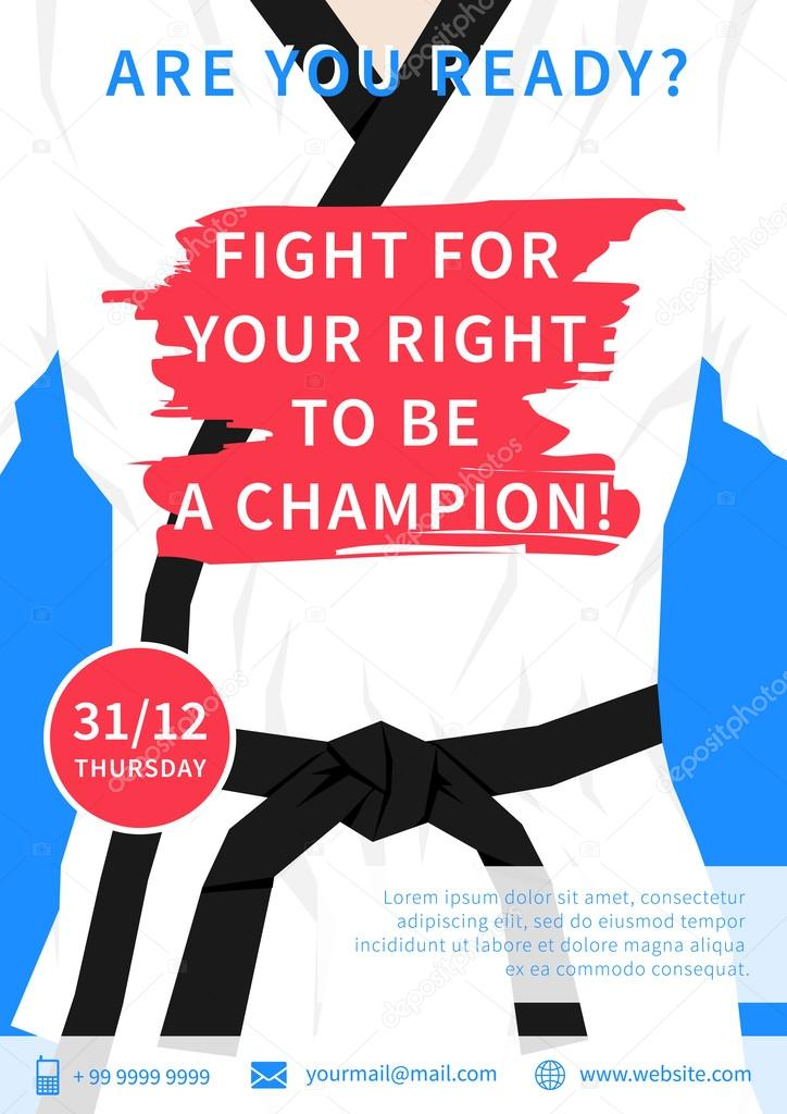 Karate competition flyer template \u2014 Stock Vector © AleksOrel #107649278 - competition flyer template