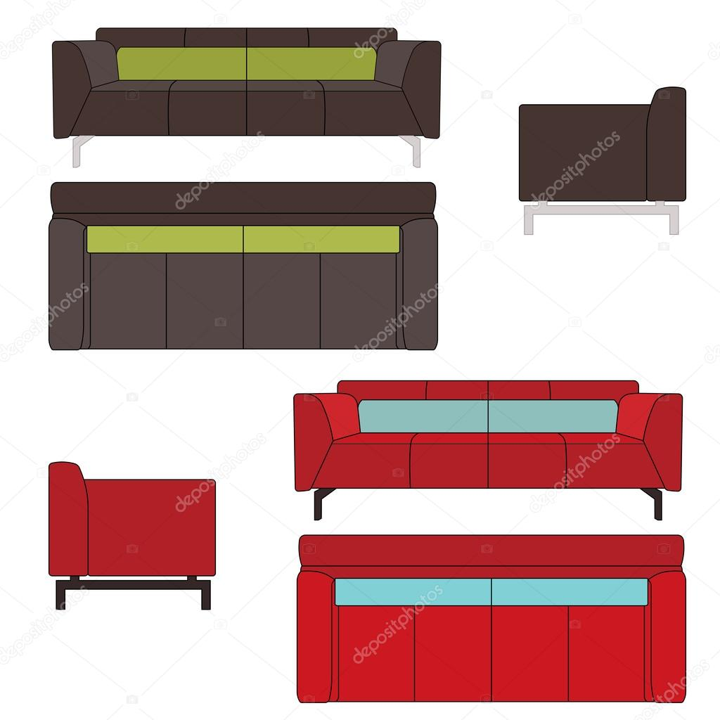 Sofa Set Vector Free Download Sofa Set Flat Vector Illustration Stock Vector Am2vectors