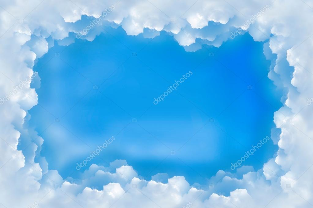 Nubes de cielo azul de borde marco para fondo \u2014 Foto de stock - fondo nubes