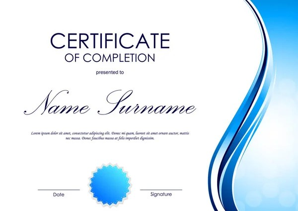 Certificate of completion template \u2014 Stock Vector © Denchik #131129874 - certification of completion sample