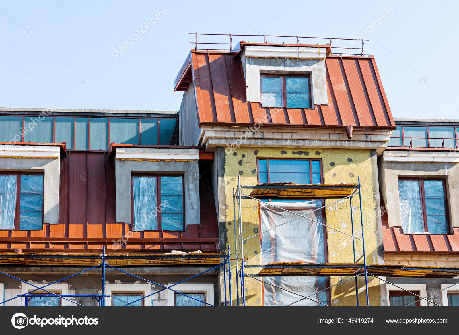 Renovation Facade Construction Or Renovation Of Building Facade With Thermal