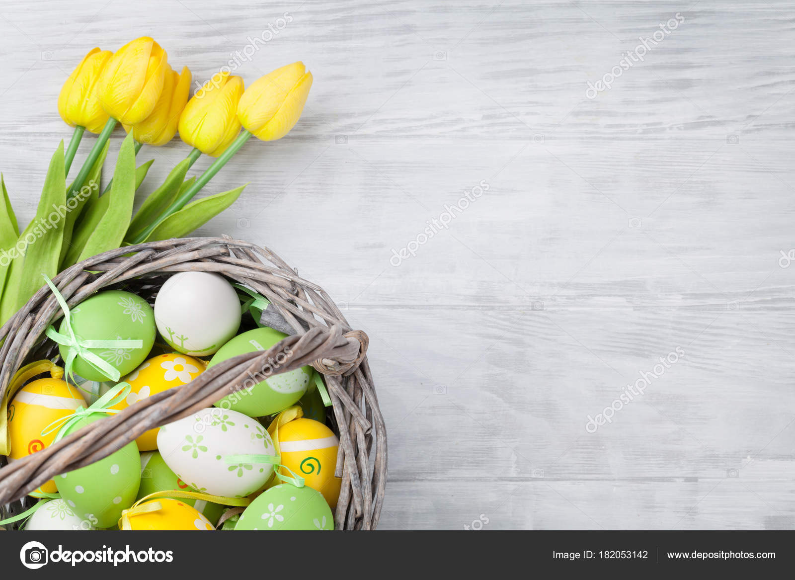 Easter Eggs Tulips Wooden Table Yellow Green Top View