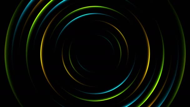 Colorful neon glowing circles abstract video animation \u2014 Stock Video