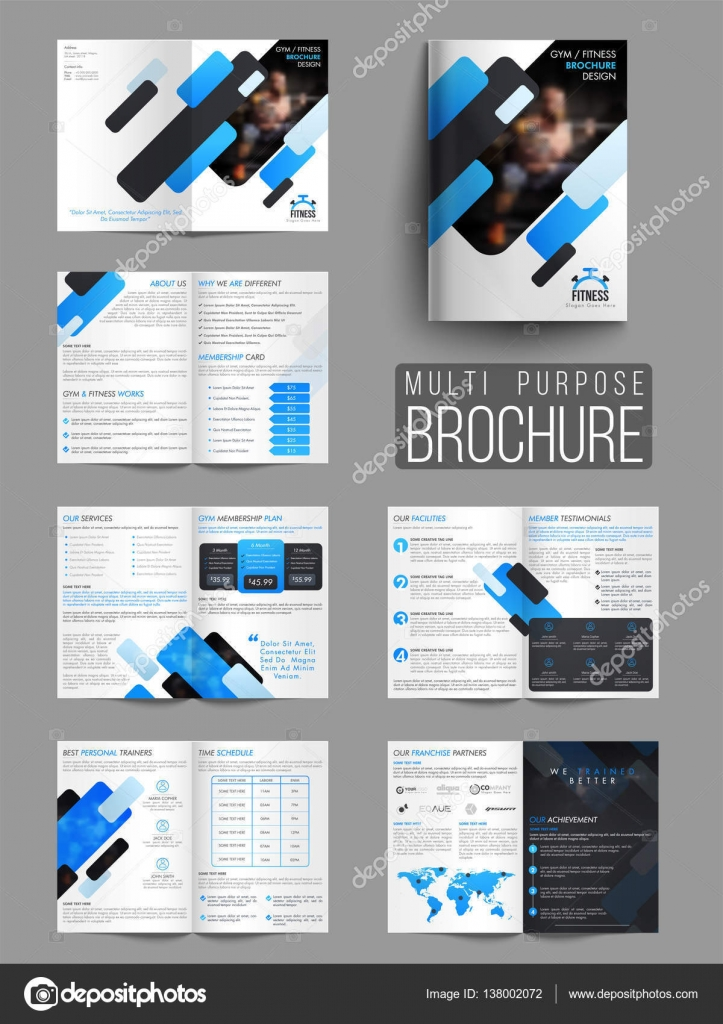 Gym or Fitness Brochure, Template or Flyer \u2014 Stock Vector
