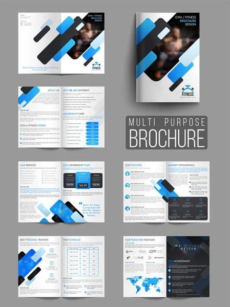 Gym or Fitness Brochure, Template or Flyer \u2014 Stock Vector - fitness brochure template