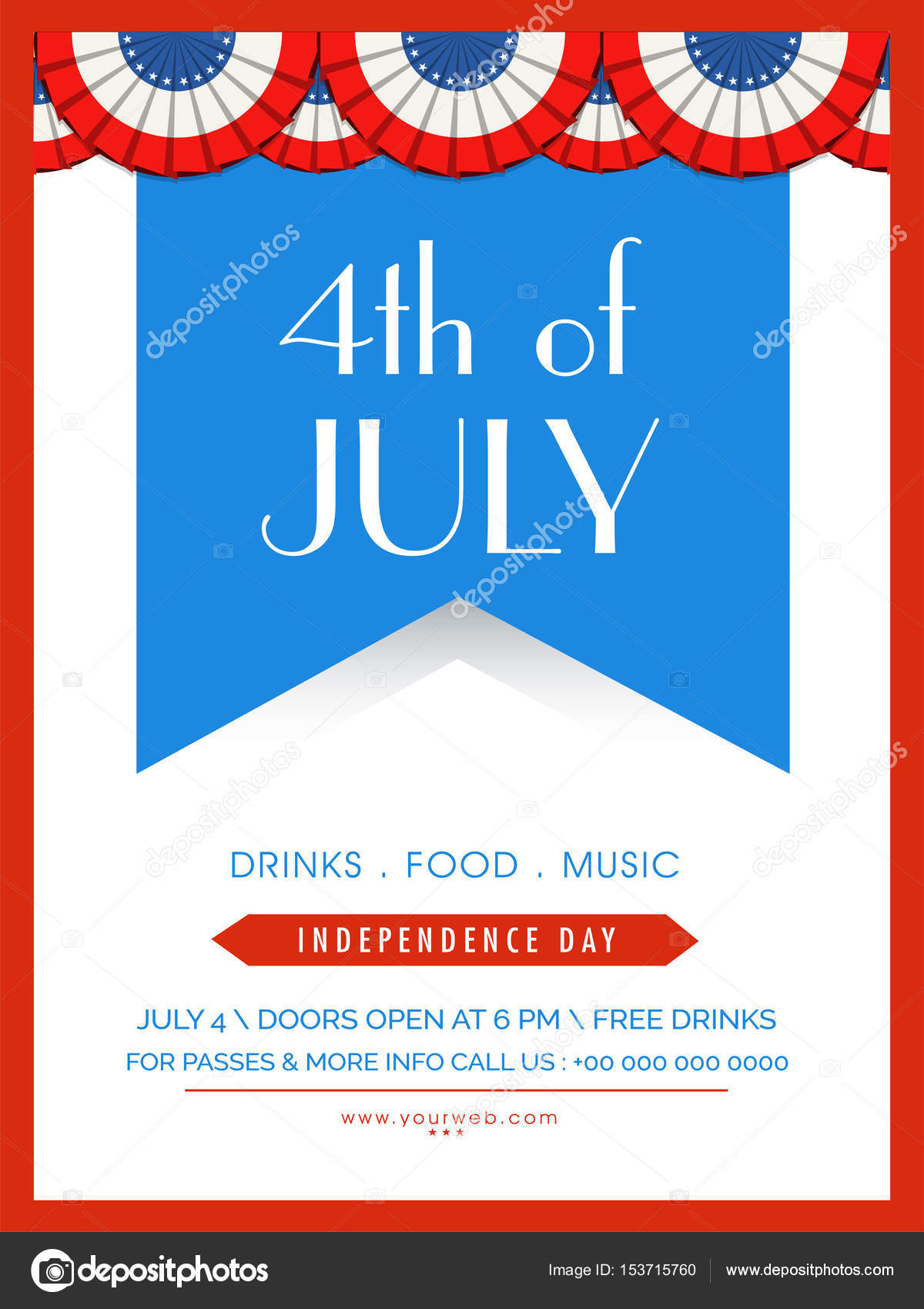 4th of July Template, Banner or Flyer \u2014 Stock Vector