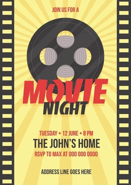 Movie night conceptCreative template for cinema poster, banner - propaganda poster template
