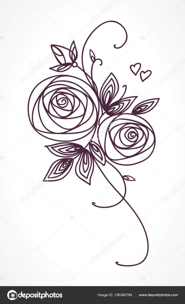 Roses Stylized flower bouquet hand drawing Outline icon symbol