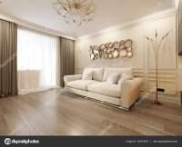 Modern Classic Beige Living Room Interior Design  Stock ...