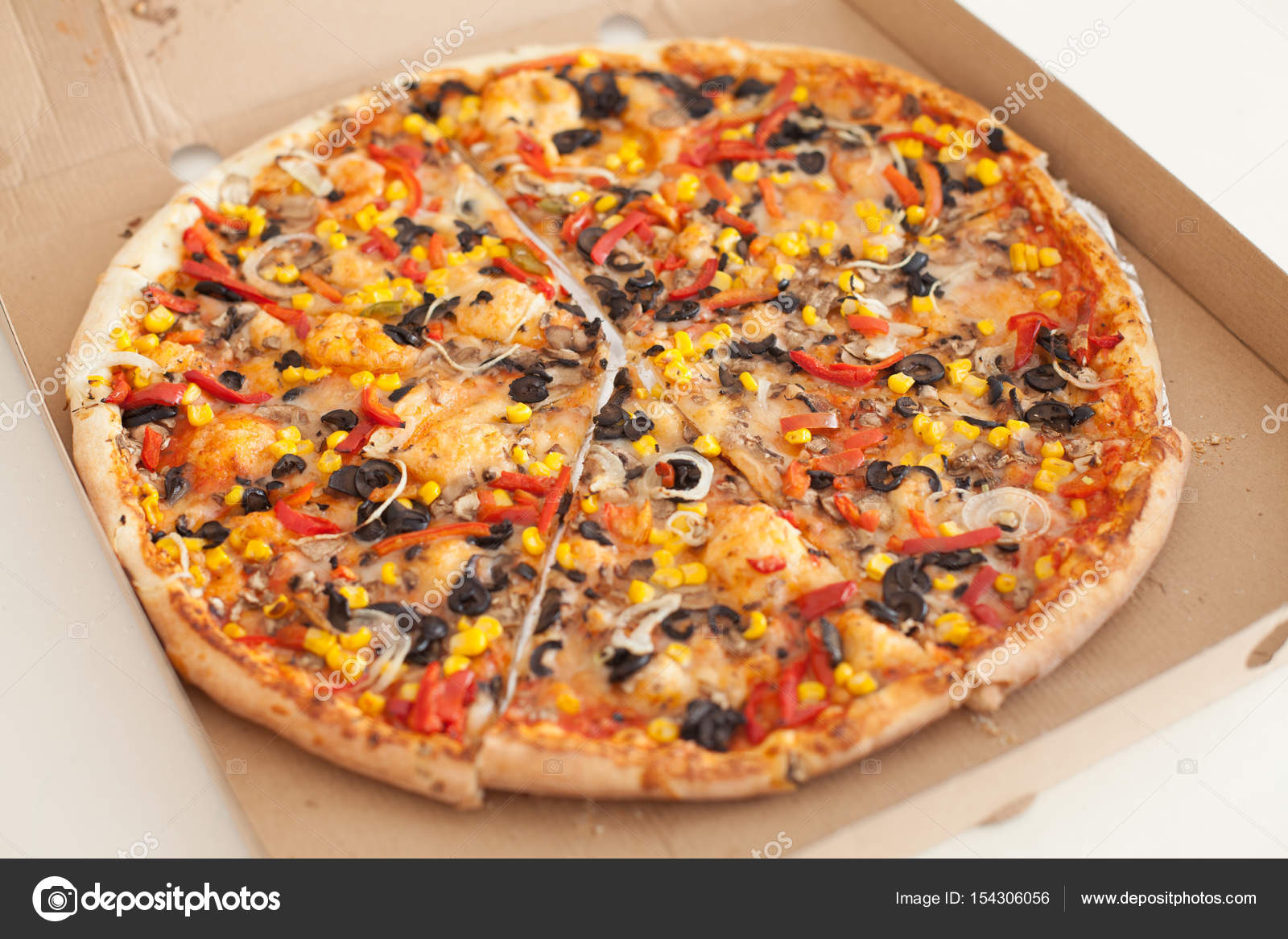 Vegetarische Pizza Vegetarische Pizza Fastfood Stockfoto Mitastockimages 154306056