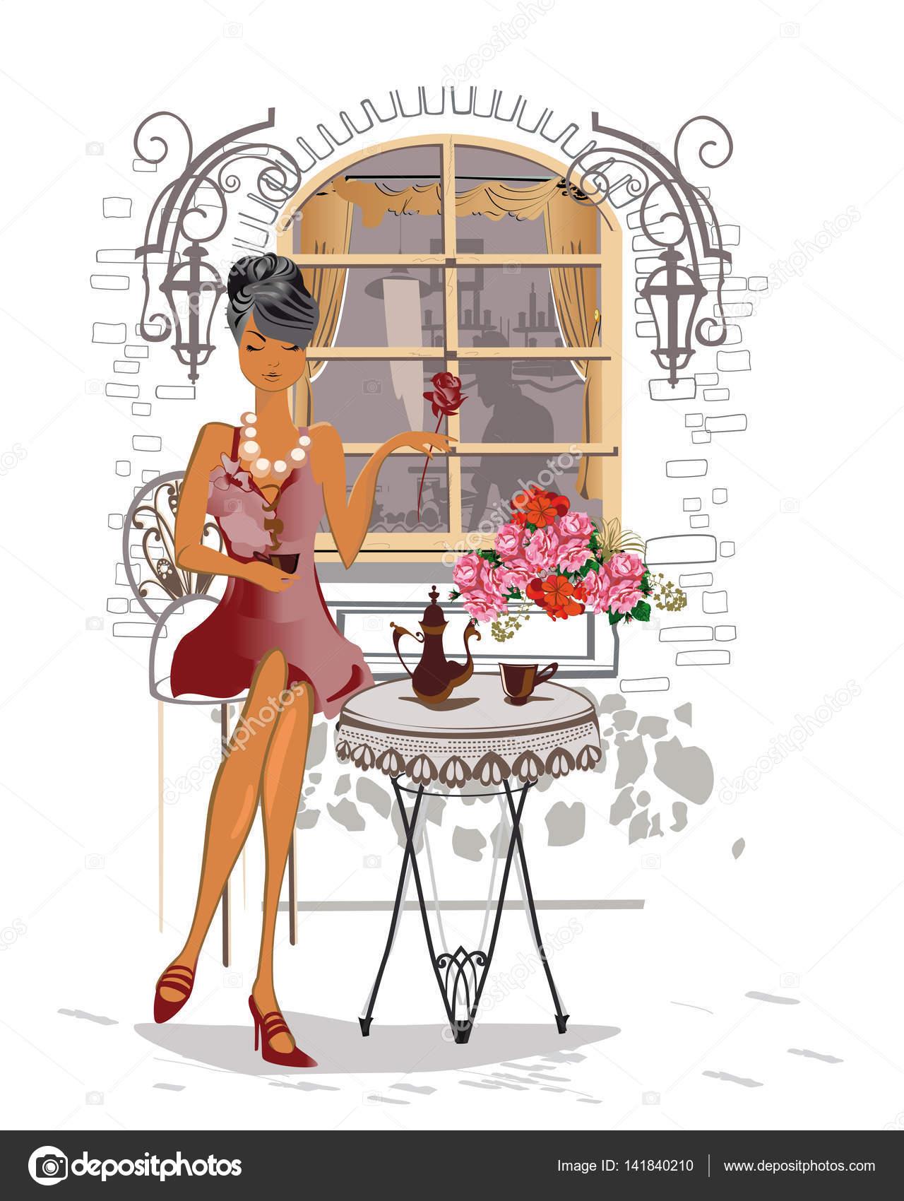 Fashion Cartoon Girl Wallpaper 系列的街头咖啡馆喝咖啡的人与城市。在马路对面的咖啡馆里的女孩 图库矢量图像 169 Laifalight 141840210