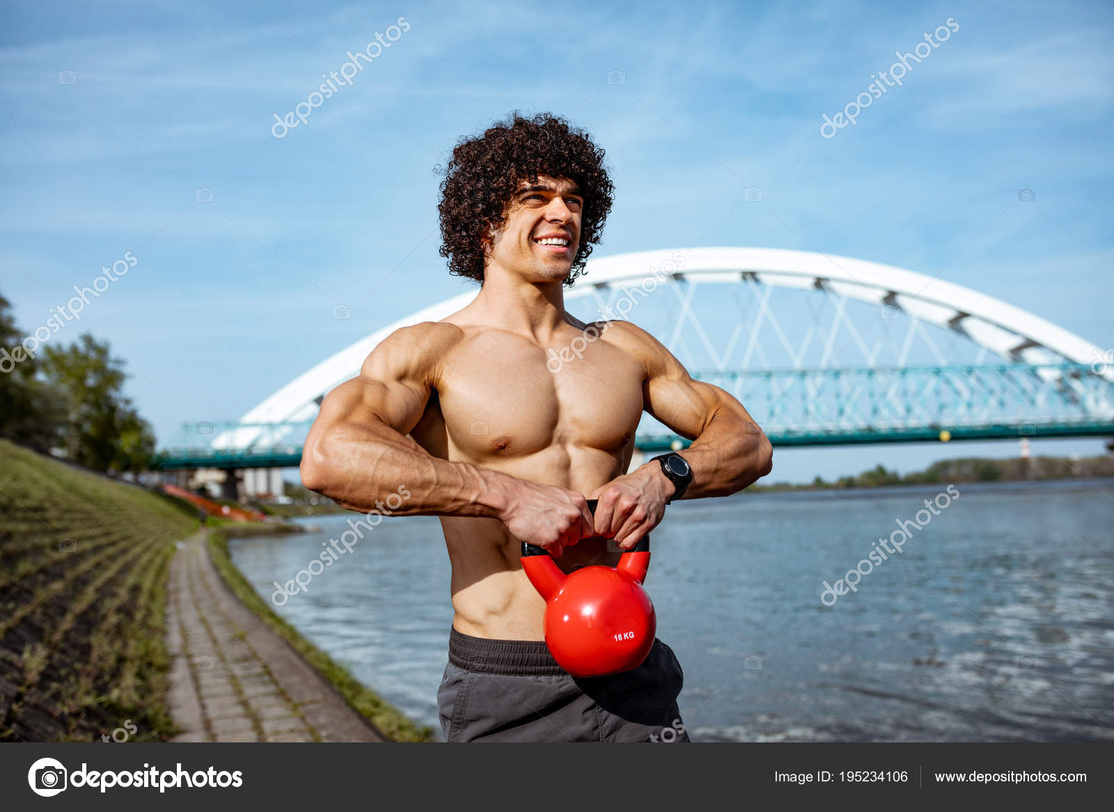 Kettlebell Bodybuilding Bodybuilder Doing Strong Fit Body Training Kettlebell River