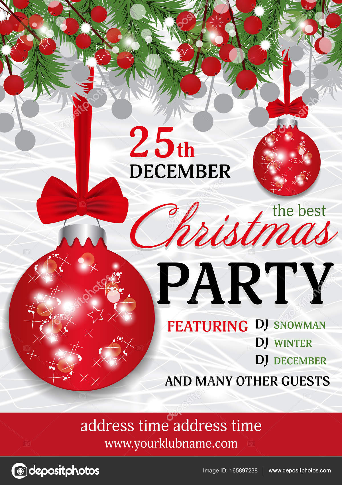 Christmas party invitation template background with fir branches and