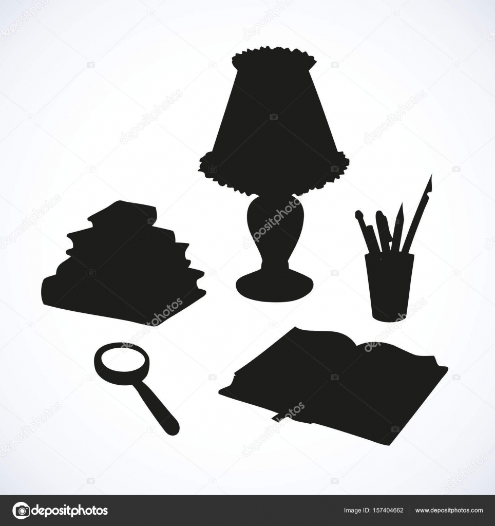 Glass Lamp Vector Vector Still Life Books Magnifying Glass Lamp And Pens