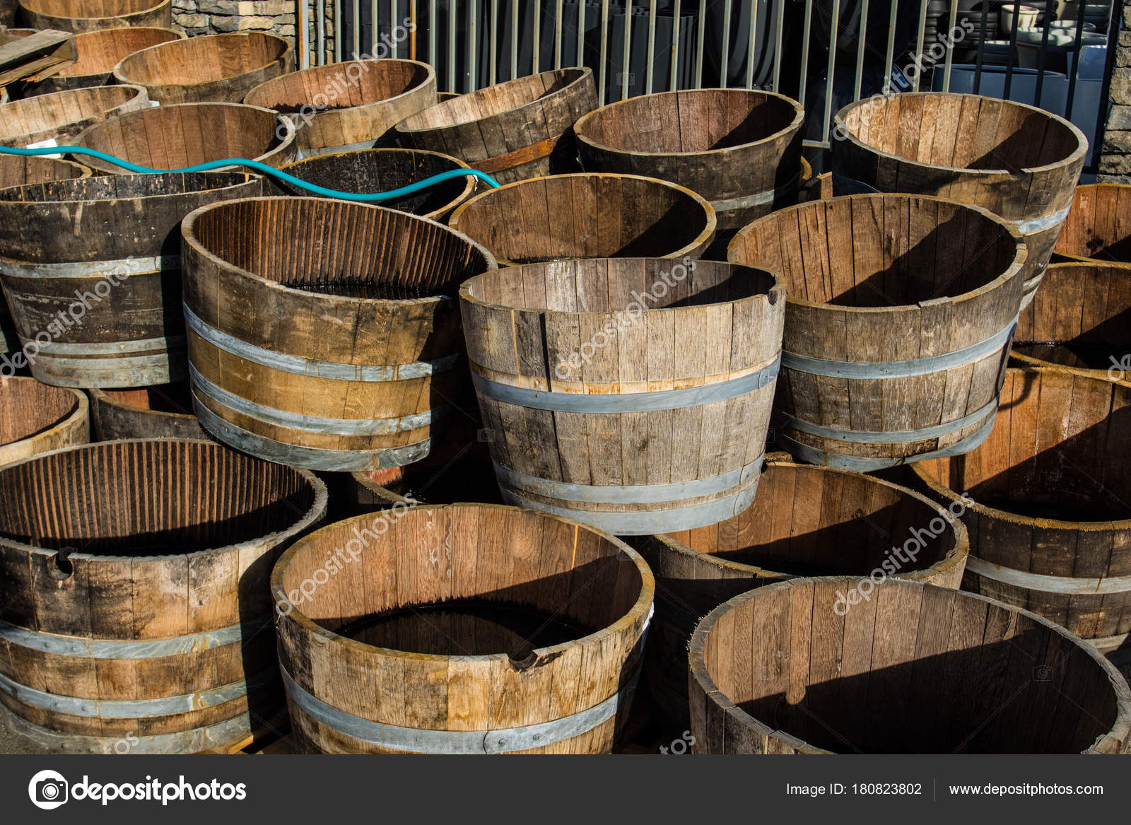 Second Life Store Stacked Old Wooden Half Barrels At Gerden Store Is About To Have