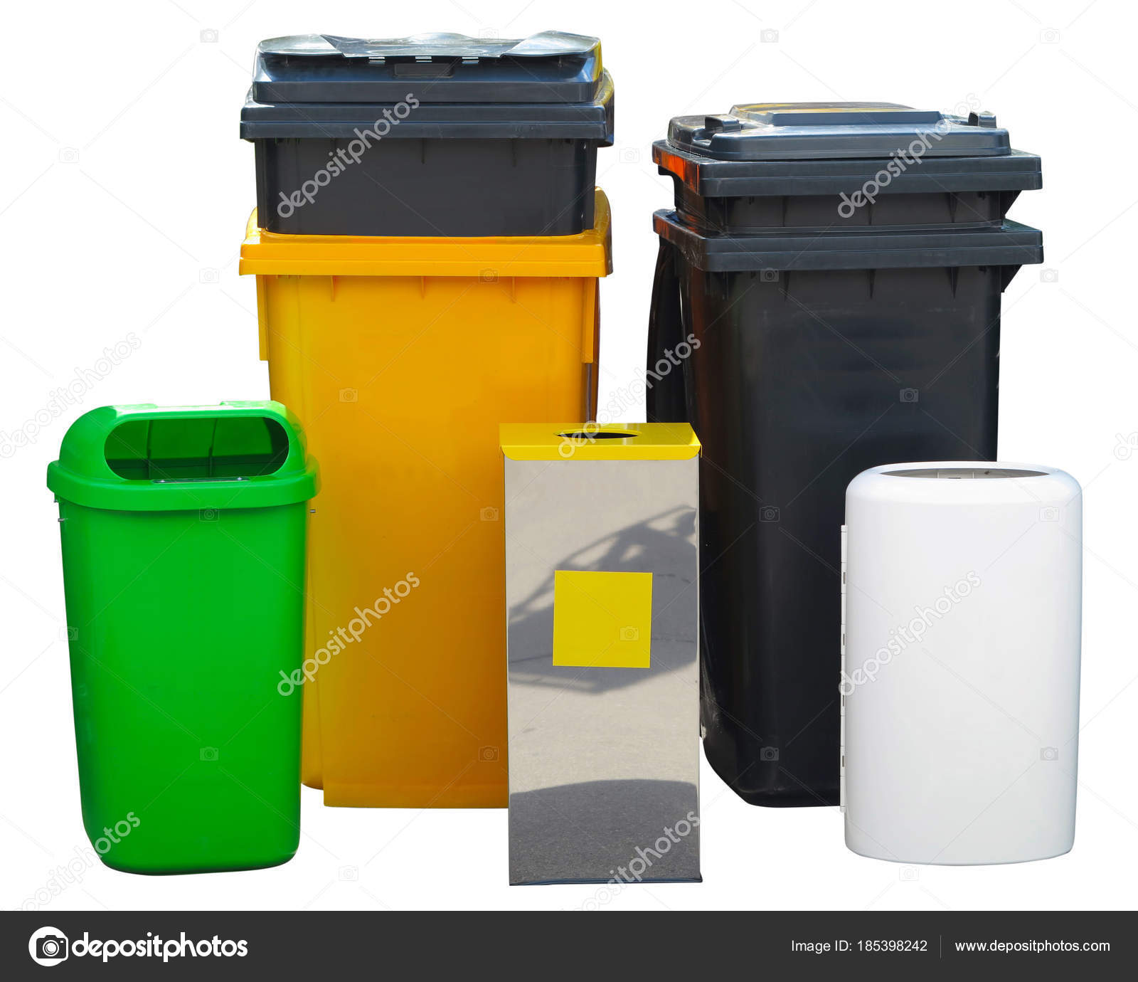 Garbage Bin Many Different Colorful Garbage Bin Containers Isolated Stock