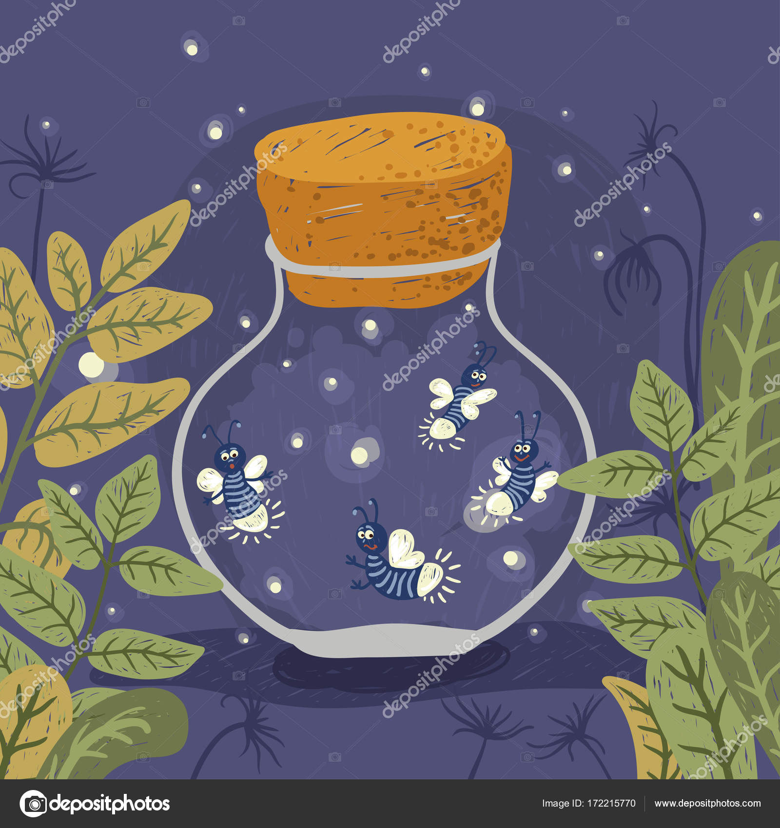 Firefly Jar Art Cartoon Firefly Jar Vector Illustration Stock Vector Aglia83