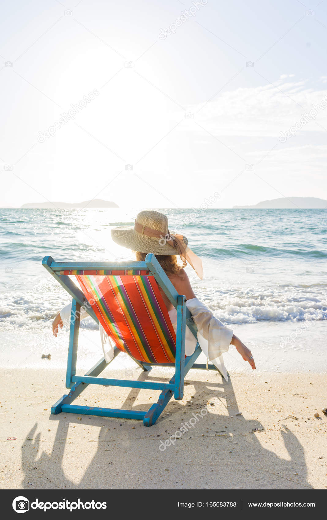 Bettsofa Florida Woman Relaxing On Sun Bed Sofa Lounge Chair On Holidays Stock