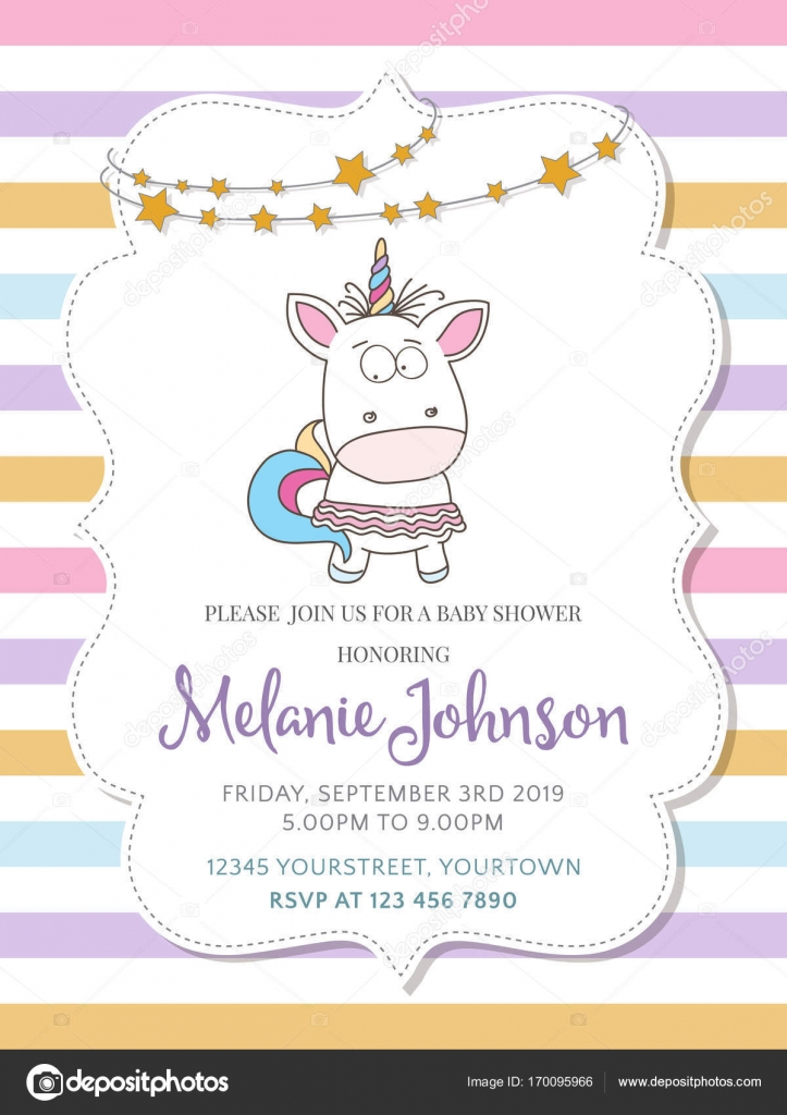 Beautiful baby shower card template with lovely baby girl unicor