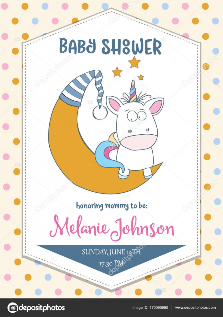Beautiful baby shower card template with lovely baby unicorn \u2014 Stock