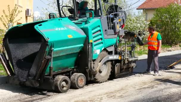 Asphalting Street Loading Asphalt Machine Workers Gabrovo Bulgaria