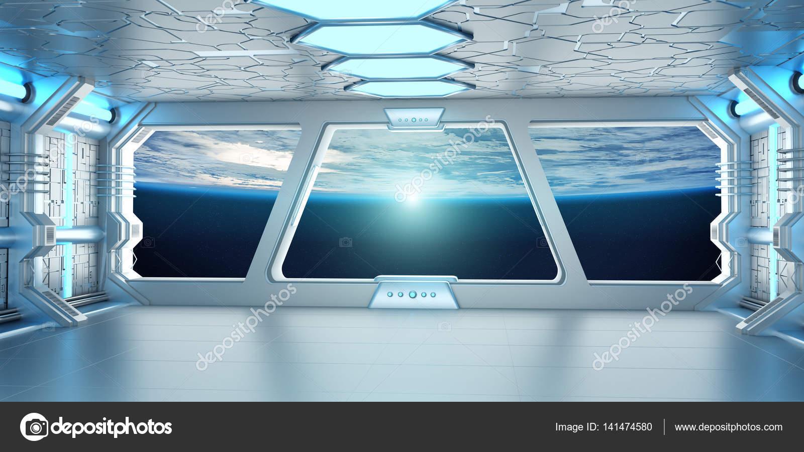 3d Galactic Wallpaper Int 233 Rieur Du Vaisseau Spatial Avec Vue Sur La Plan 232 Te