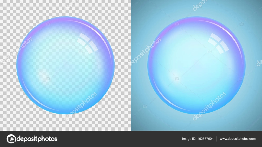 Colorful soap bubble with a basic blue color with transparency i