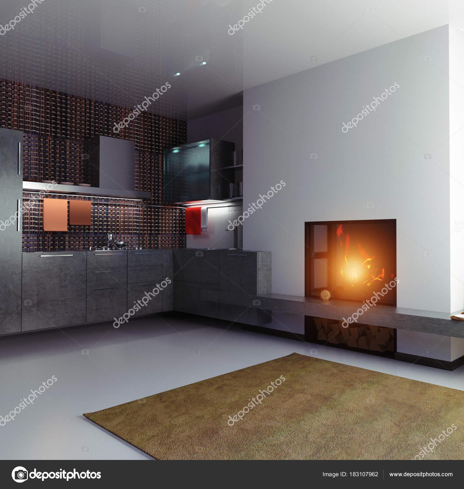 Kleine Küche Dunkler Boden Schön