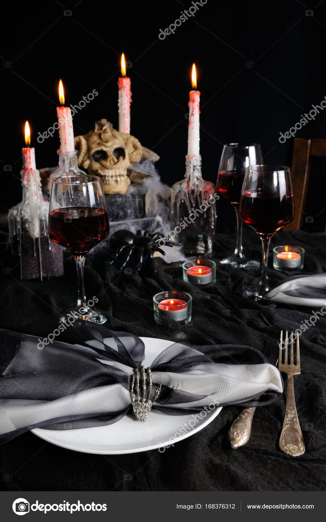 Serviette De Table Halloween Réglage De La Table Pour Halloween Photographie Apolonia
