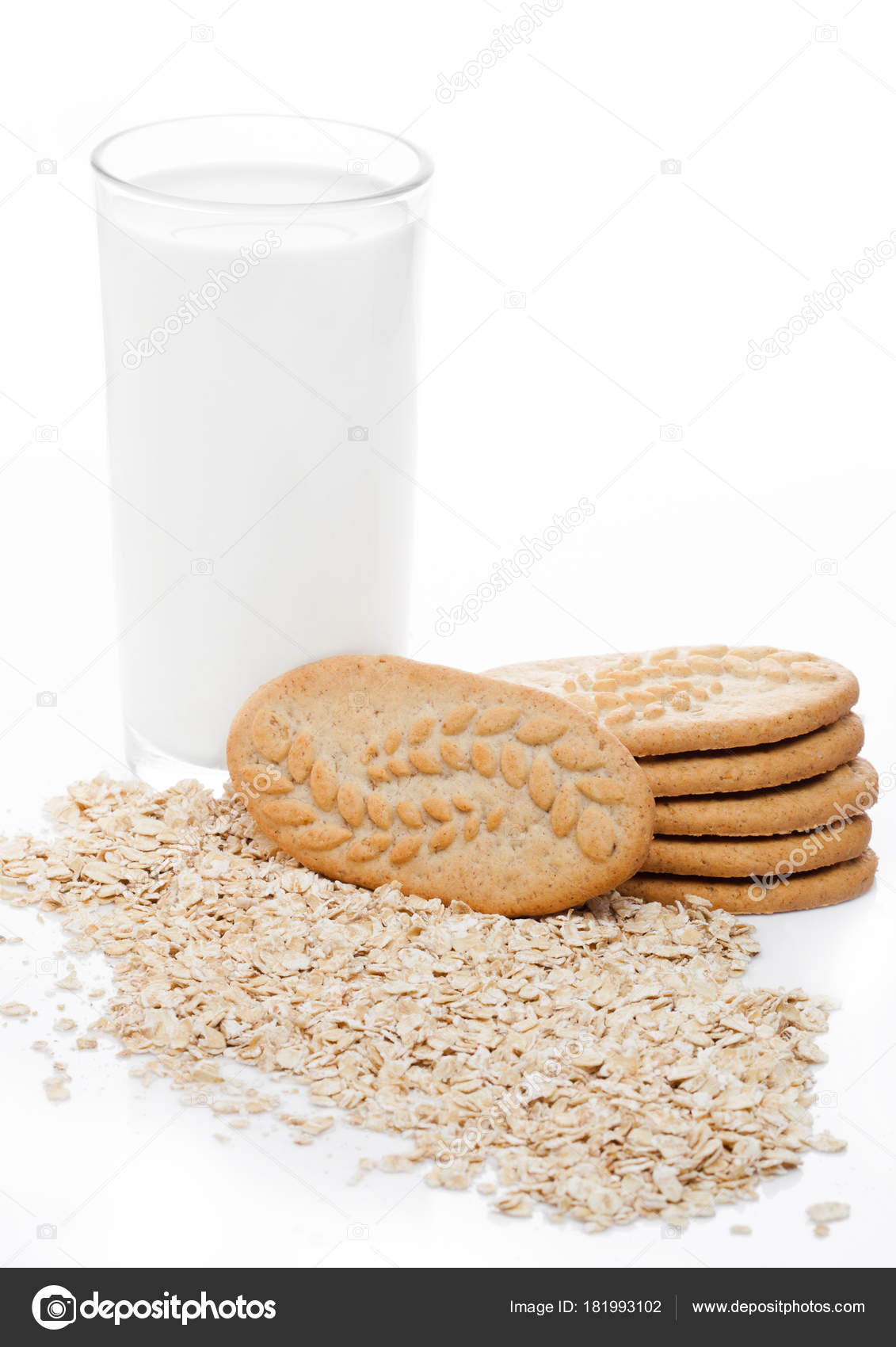 Grain Bio Healthy Bio Breakfast Grain Biscuits With Milk Stock Photo