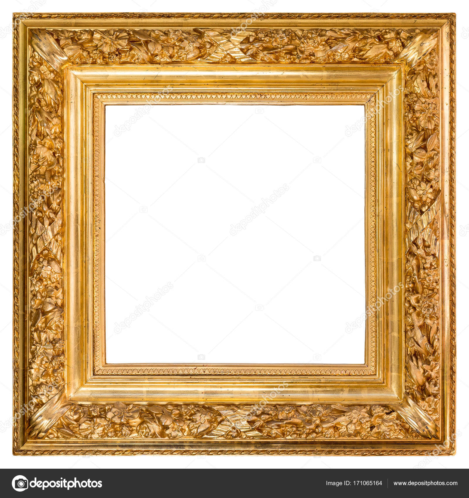 Marcos Para Cuadros Grandes Antique Golden Frame Over White Fotografias De Stock