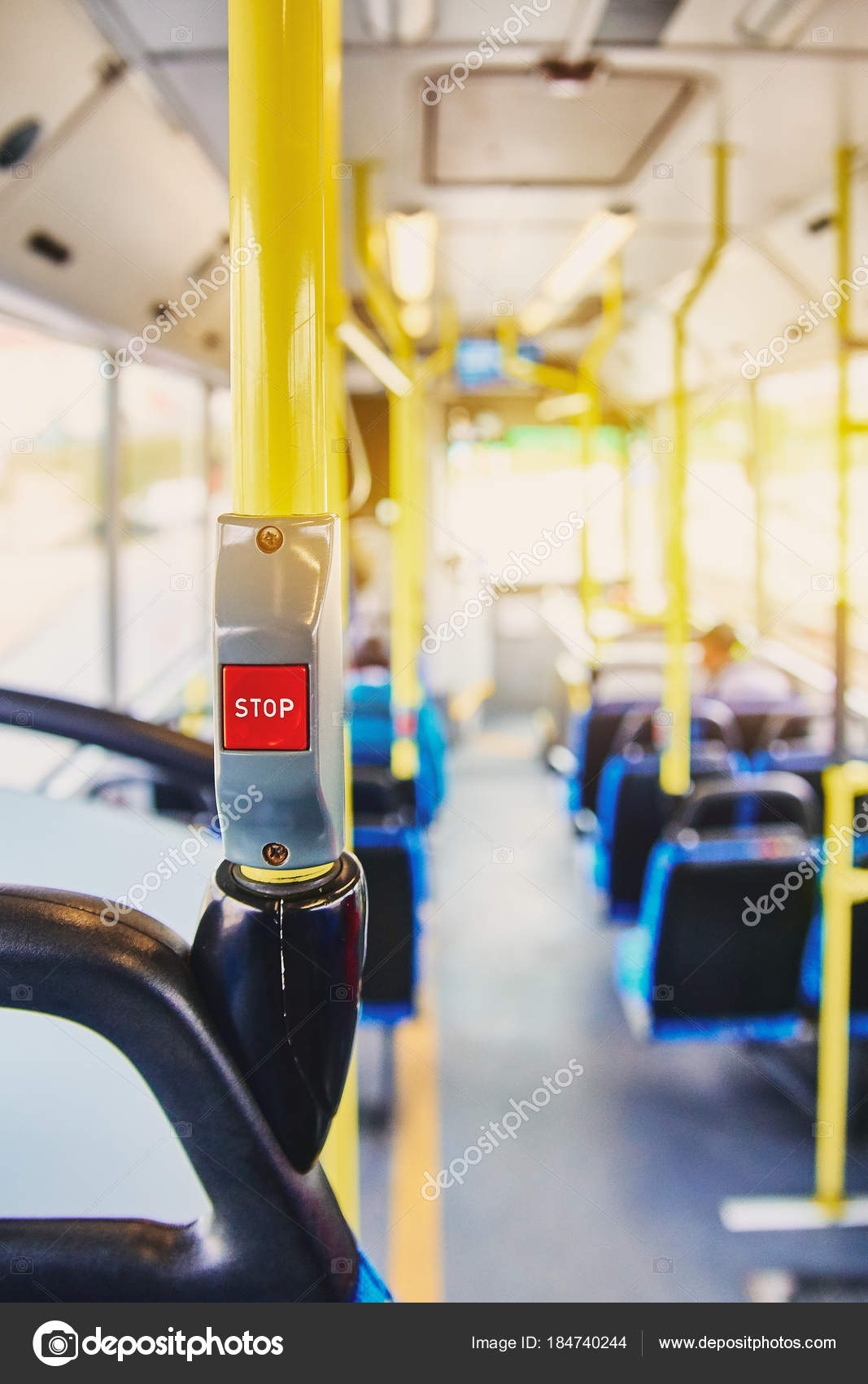 Garage Seat Lens Red Button Stop On The Bus Bus With Yellow Handrails And Blue
