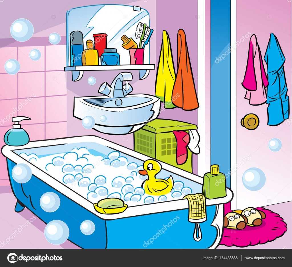 Badezimmer Comic Interior Cartoon Bathroom Stock Vector Verzhy 134433638
