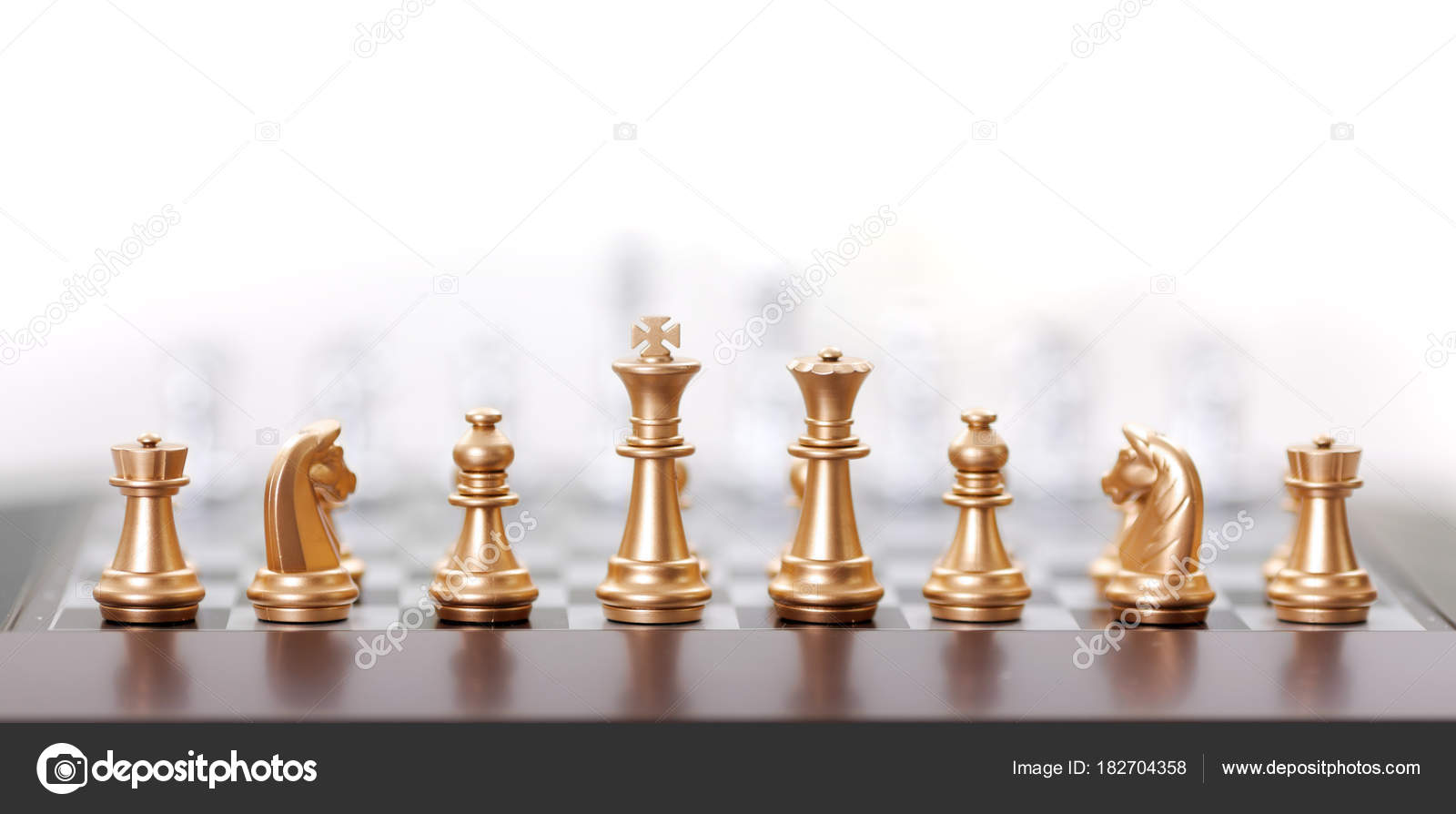 Gold Chess Pieces Golden Chess Pieces Stock Photo Erierika 182704358