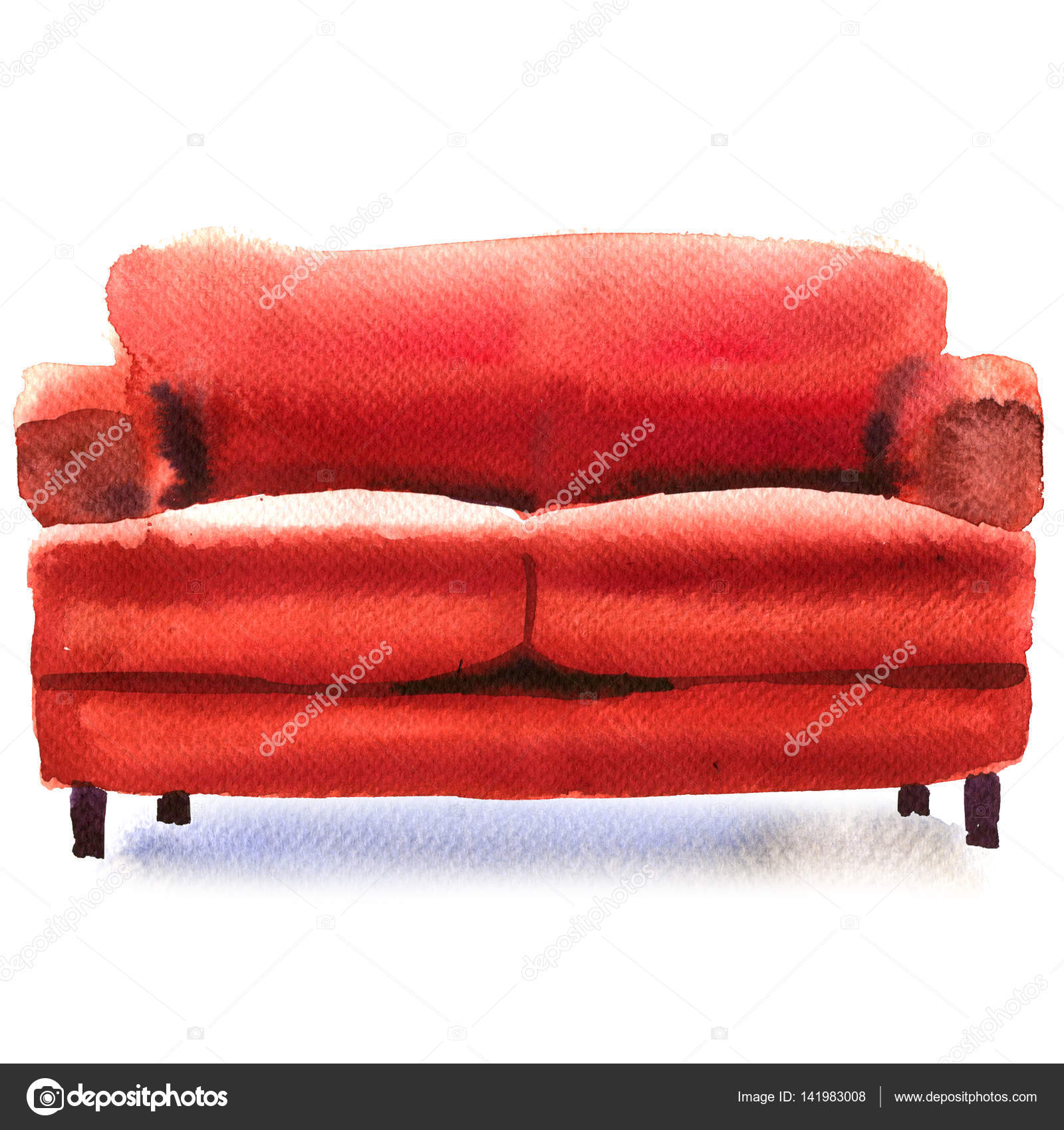 Bequeme Couch Rotes Sofa Bequeme Couch Isoliert Aquarell Illustration Auf