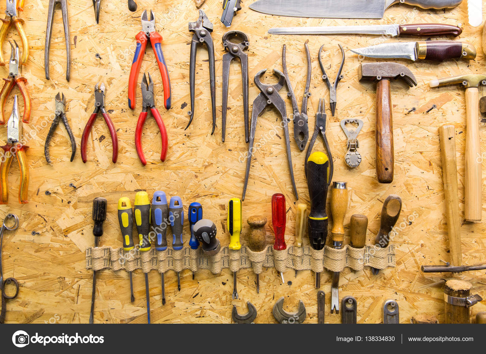 Cuadro Herramientas Work Tools Hanging On Wall At Workshop Stock Photo