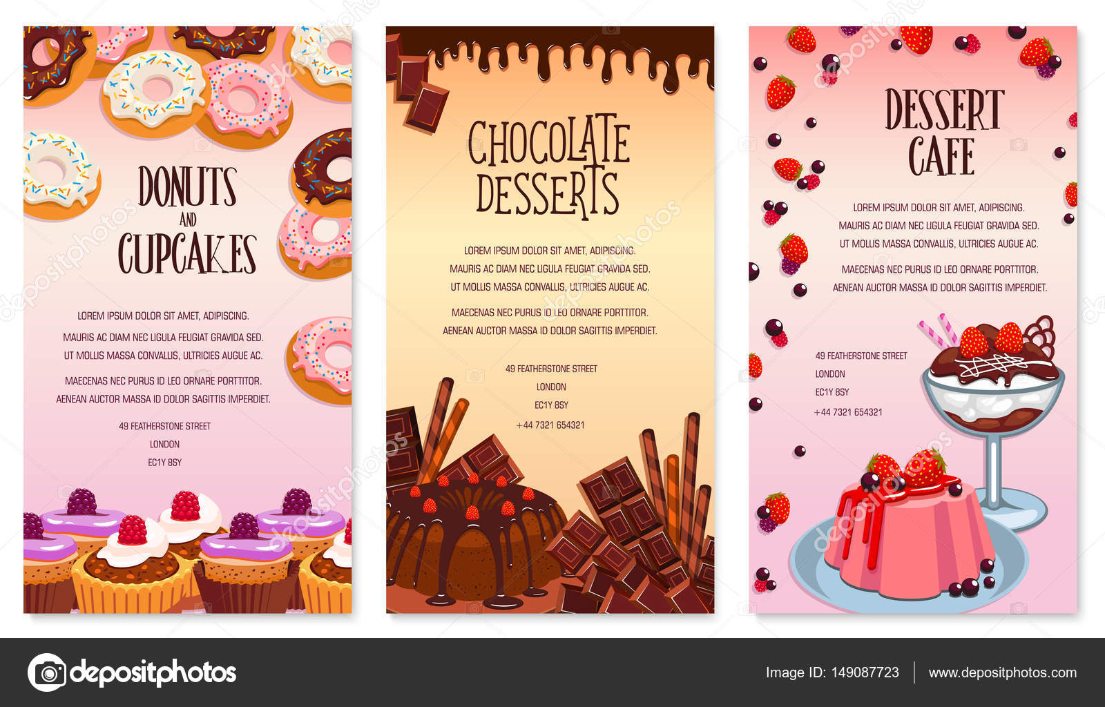Vector desserts menu template for bakery or cafe \u2014 Stock Vector - dessert menu template