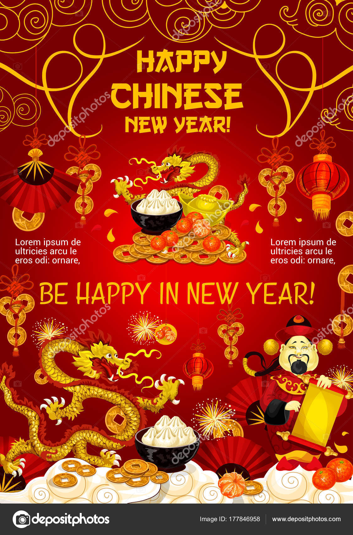 Chinese New Year Greeting Card Of Dragon And Gold U2014 Stock