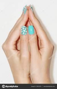 Natural nails. Beautiful nail art for you.  Stock Photo ...