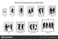 Mattress Dimensions Bed Sizes Pictograms Depict Icons