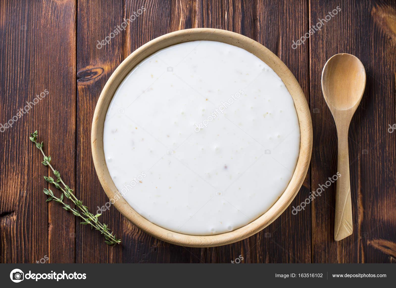 Iogurte Cereais Placa De Madeira Colher Vintage Plano De