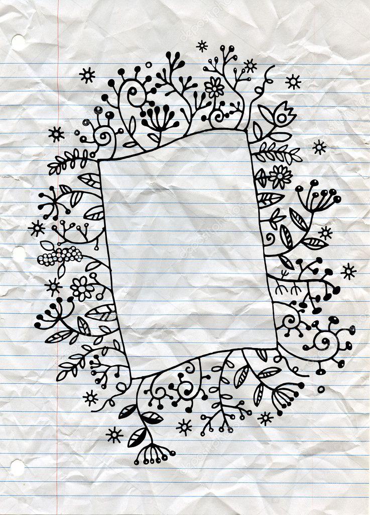 Hand drawn floral doodle frame Vector frame for cards, invitati