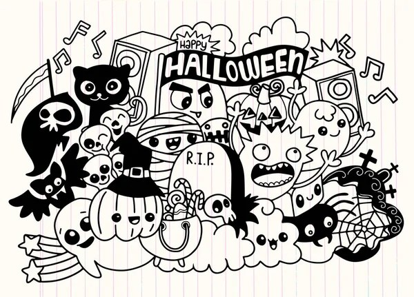 Black And White Happy Birthday Party Doodles \u2014 Stock Photo © lenmdp