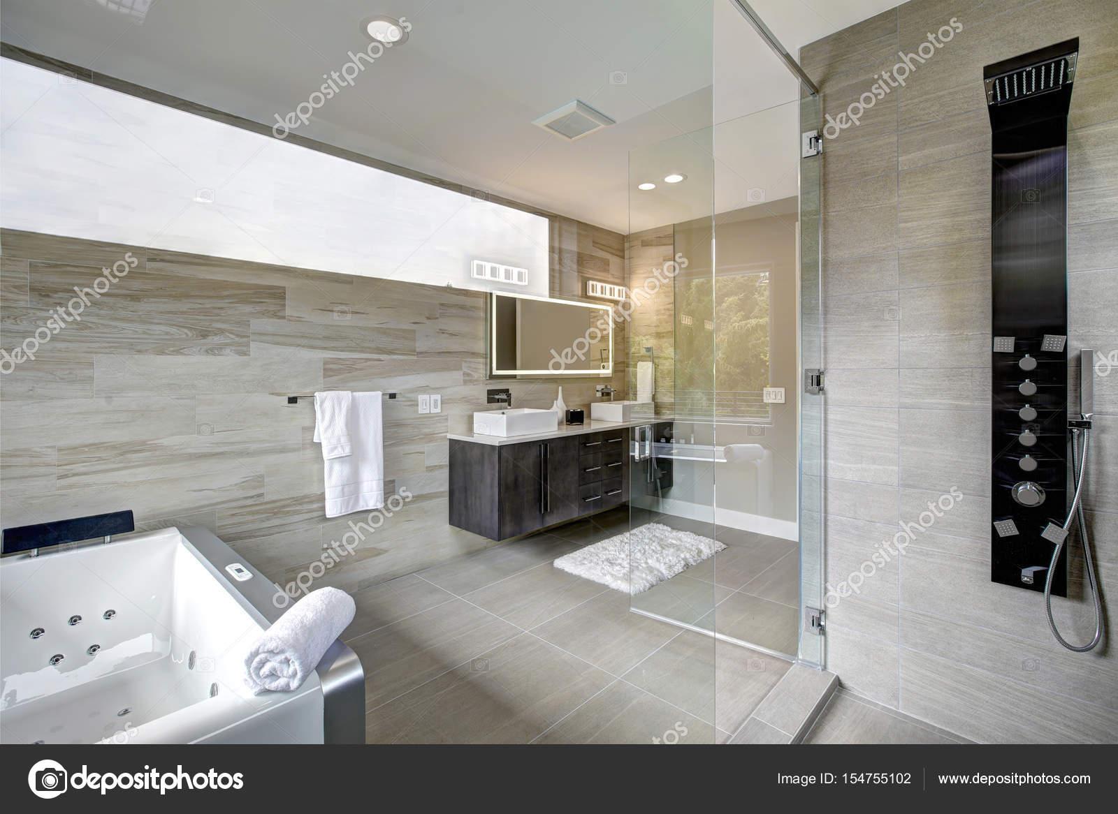 Modern badkamer interieur slaapkamer met badkamer ensuite nieuwe