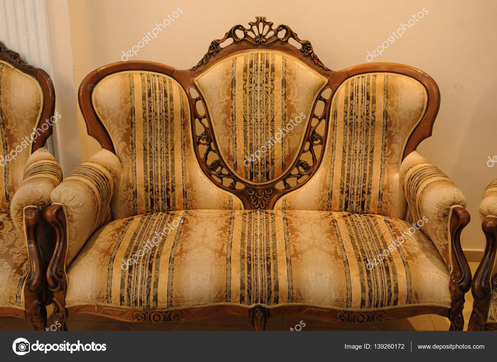 Sessel Klassizismus Brown Royal Classical Style Armchair Sofa Stock Photo