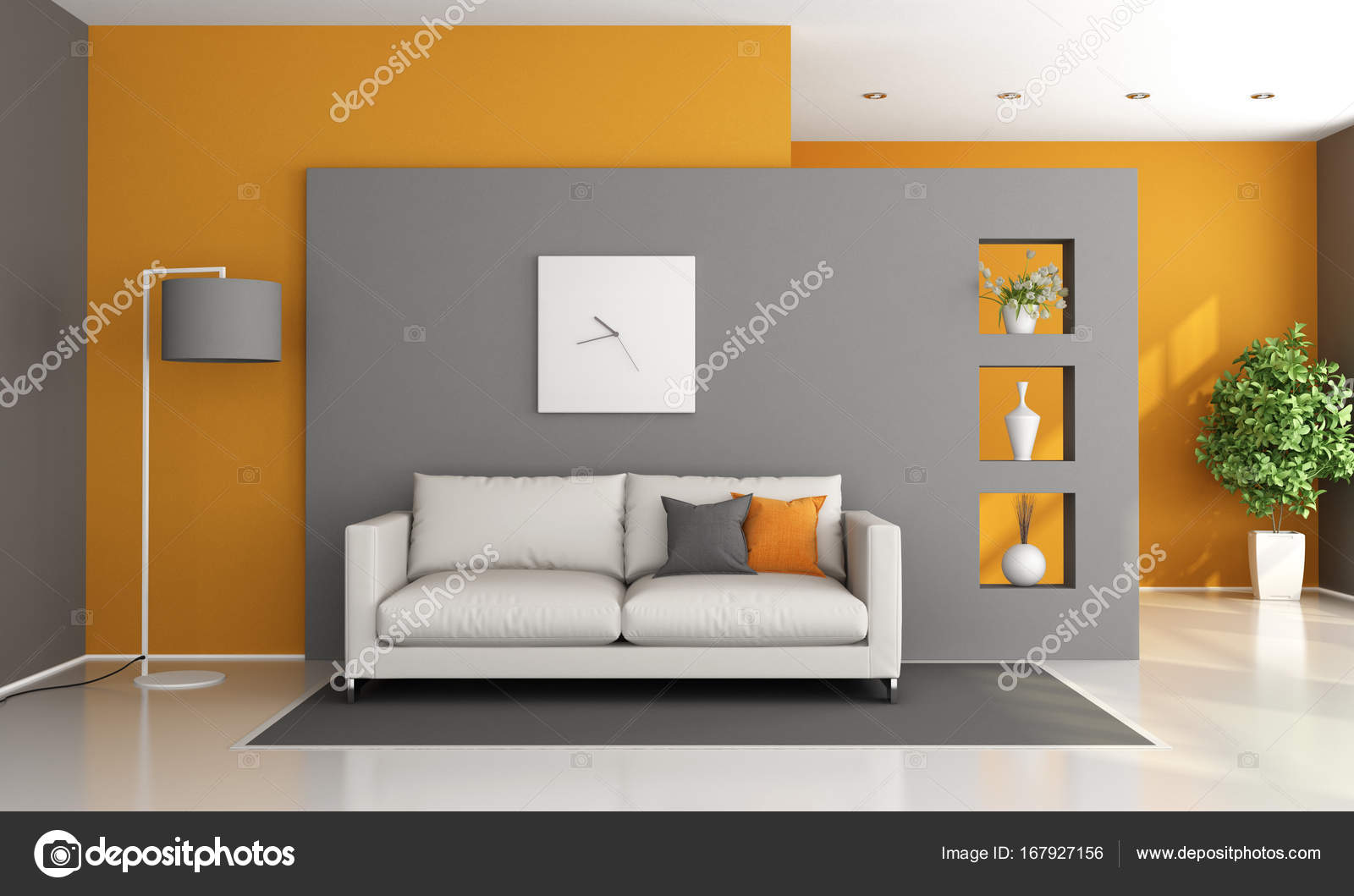 Salon Moderne Salon Moderne Gris Et Orange Photographie Archideaphoto 167927156
