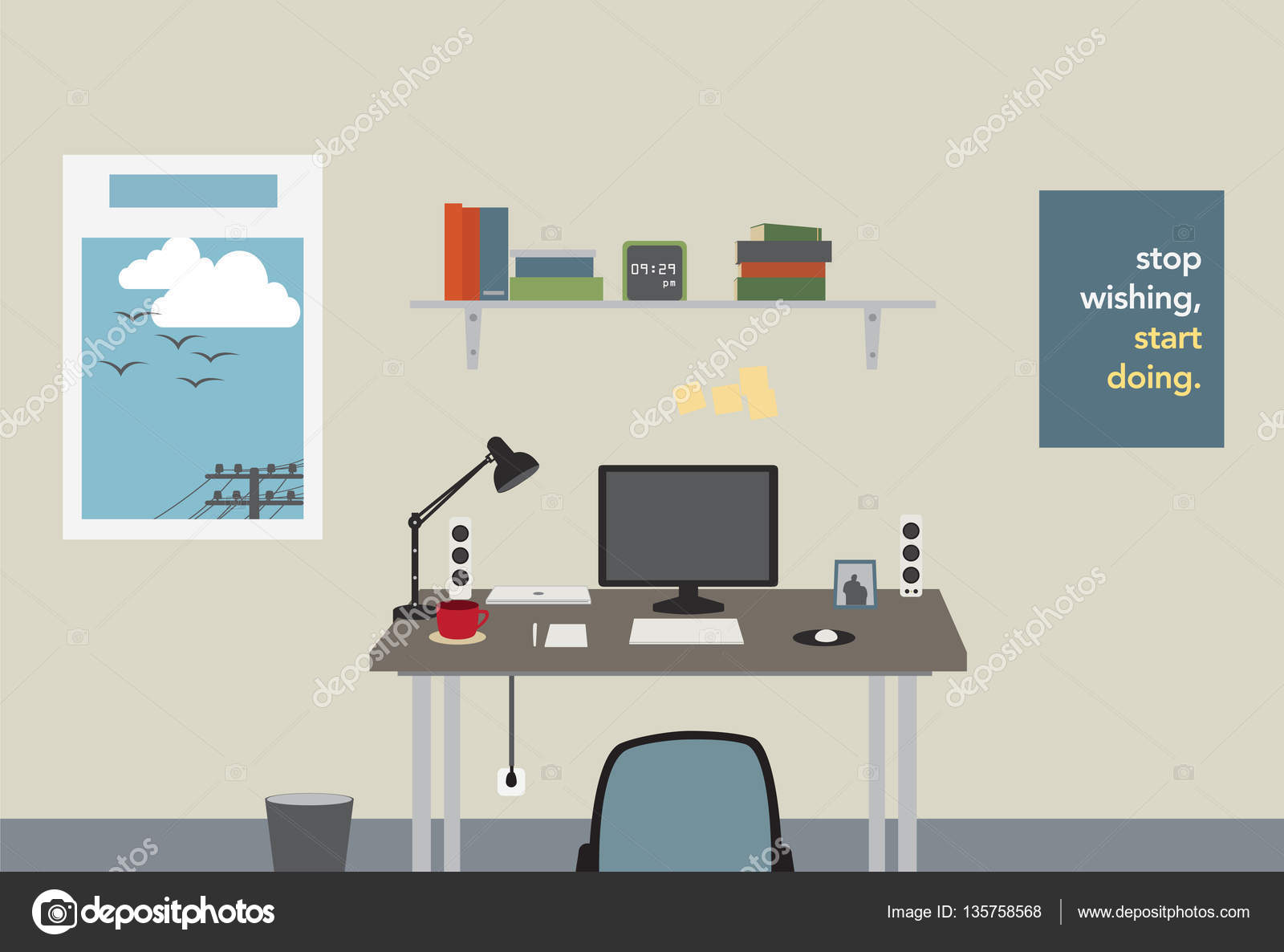 Home Office Arbeitsplatz Home Office Workspace With Designer Equipment Tool Stock