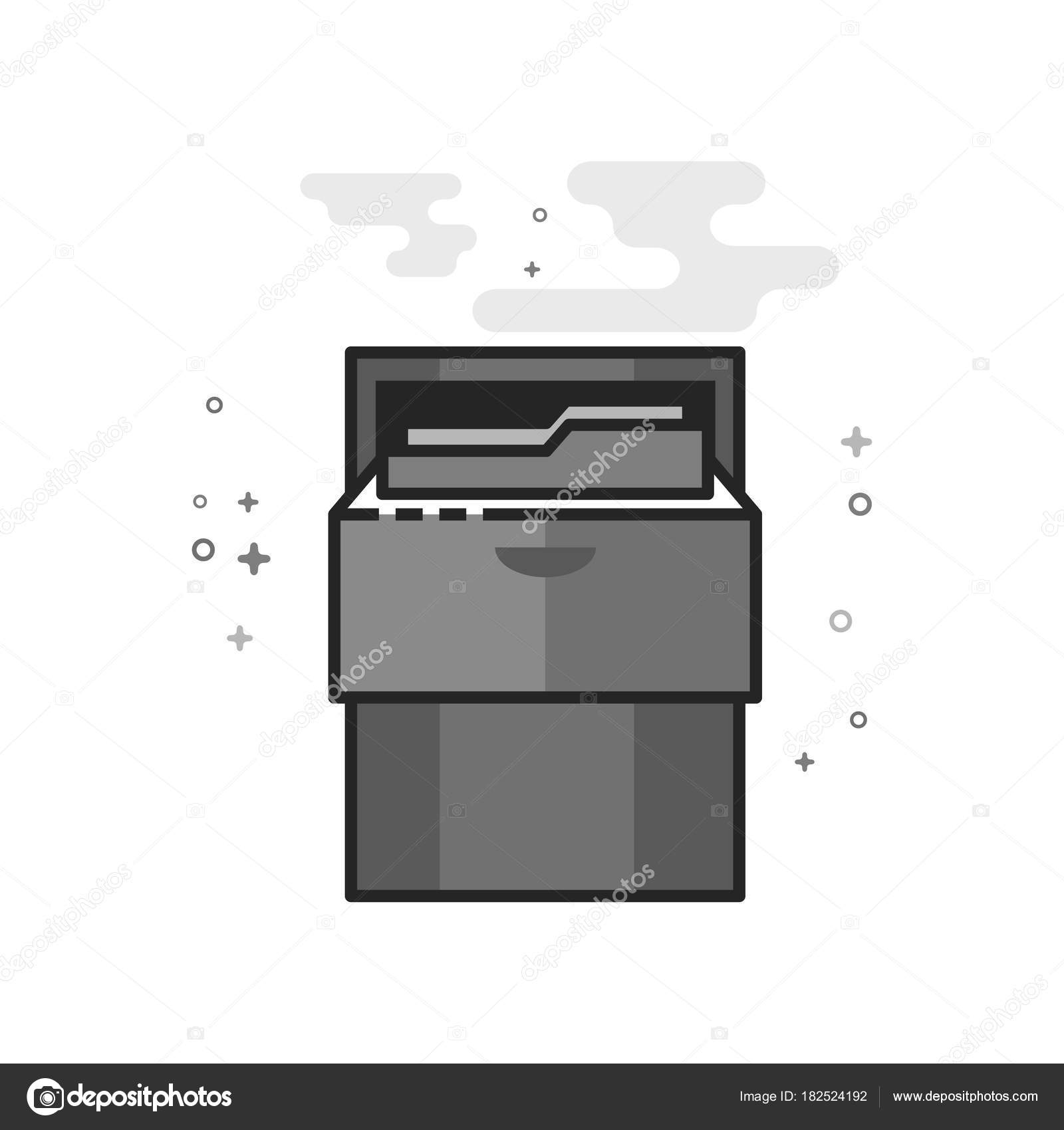 Filing Cabinet Icon Flat Office Cabinet Icon Flat Outlined Grayscale Style Vector