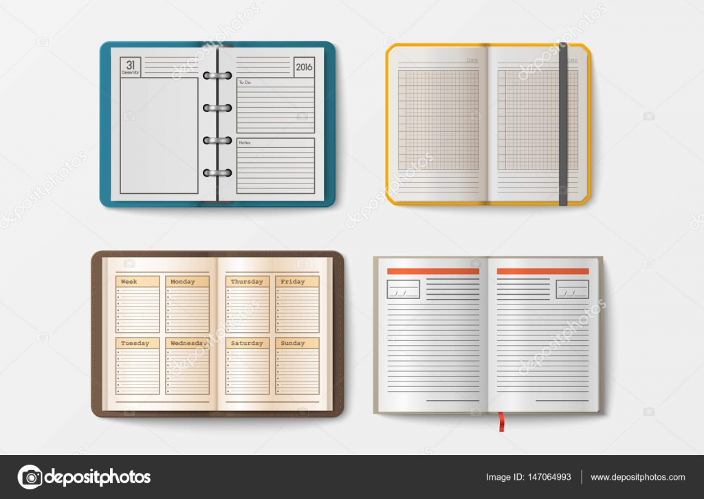 Set of open realistic notebooks with pages diary office sheet